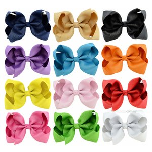 Fashion Baby hairclips Ribbon Bow Hairpin Clips Girls solid Bowknot Barrette Kids Hair Boutique Bows Children Hair Accessories KFJ183