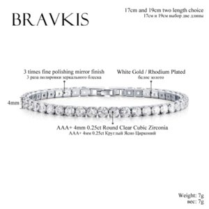 BRAVKIS fashioh crystal tennis bracelet zircon beads bracelet bangle chains strand bracelets for women pulseiras bijoux BUB0097