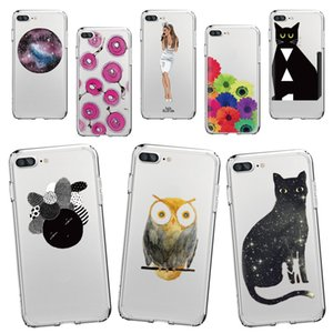 Black Cat Cactus Owl Design Soft Silicone Case for Iphone X 7 8 7PLUS 8plus Samsung S8 Case Customize all Models