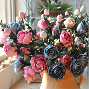 Wholesale Rose Pink Silk Peony Artificial Flowers Bouquet Big Head and Bud Cheap Fake Flowers for Home Wedding Decoration indoor