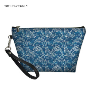 Wholesale Pretty Leather Dolphin Print Make Up Bag Small Cosmetic Bag for Women Personalized Girls Travel Makeup Case Pouch
