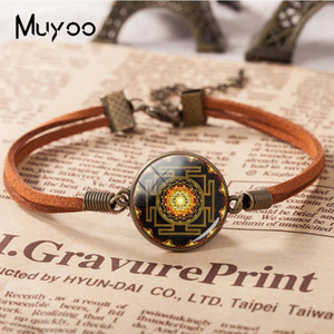 2018 New Buddhist Sri Yantra Leather Bracelet Sacred Geometry Sri Yantra Bracelets Hand Craft Glass Cabochon Jewelry