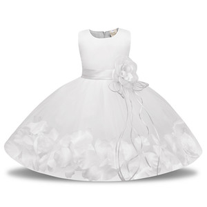Wholesale girls' dress for christening for sale - Group buy Pink Red Blue Mesh Flower Girl Dress for Weddings Infant Ball Gown First Communion Baptism White Baby Dress for Christening