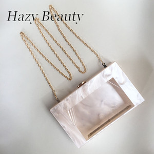 Wholesale Hazy beauty acrylic marble looking women bling evening bag chic cross body bag classical box book handbag with clear window A355
