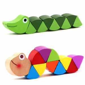 Wholesale Hot wooden crocodile caterpillars toys for baby kids educational color education development gift WJ475