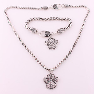 Good Quality Rhodium Plated Zinc Studded With Sparkling Crystal Dog Or Bear Paw Charm Earring Bracelet Necklace Set Jewelry