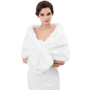 Wholesale Winter Autumn Cheap Wedding Bridal Wraps Bolero Faux Fur For Wedding Evening Party Prom Jacket Coat Winter White Fur Shawl Wedding CPA1614