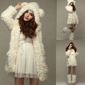 Wholesale Fashion Women s New Teddy Princess Cardigan Jackets with Cute Bear Ears Hooded Plush Coats Long Sleeve Outwear Autumn and Winter Black White