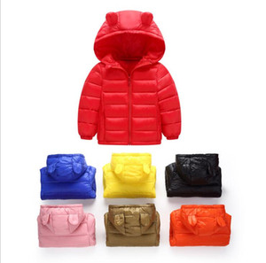 Wholesale Kids Down Coat Boys Winter Hooded Outerwear Down Jacket Girls Long Sleeve Overcoat Designer Clothing Ski Wear Solid Cute Ear Clothes YL719