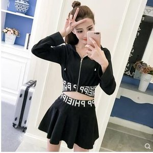 Wholesale New fashion women s hooded long sleeve letter print sweatshirt hollow out top and high waist pleated short skirt sexy twinset suit S M L