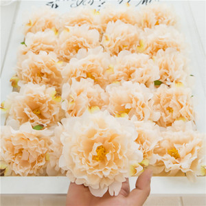 50Pcs Artificial Flowers Silk Peony Flower Heads Wedding Party Decoration Supplies Simulation Fake Flower Head Home Decorations Wholesale