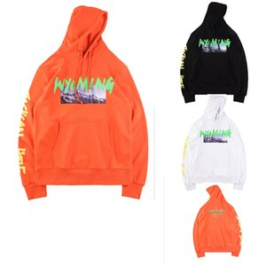 FW18 Kanye West Season 5 OVERSIZE Wyoming Mountains Pattern letter printing Men Hoodie Pullover Hip Hop Casual Sweatshirt on Sale