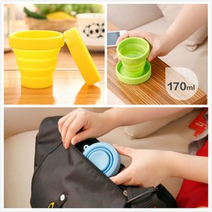 Wholesale Outdoor Folding Silicone Cup Candy Travel Water Bottles Camping Drinking Mugs With Lanyard Collapsible Retractable Wine Glass