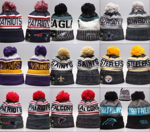 Wholesale Cheap New Arrival men Beanies Hats American Football teams Beanies Sports winter side line knit caps Beanie Knitted Hats drop shippping