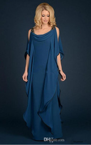 2019 New Champagne Navy Blue Mother Of The Bride Dresses Chiffon Garment Beaded Plus Size Ruffles Flowing Mother Formal Evening Dress