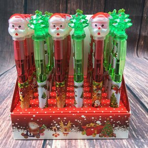 Santa Claus Christmas Skull ballpoint pen Flash light children gift blue 0.5mm ink 60pcs