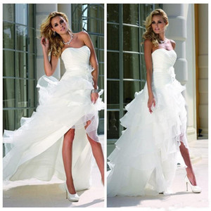 Wholesale A Line White High Low Wedding Dresses Sweetheart leeveless Cascading Ruffles Tiered Skirts Beach Bridal Gown Short Wedding Dress
