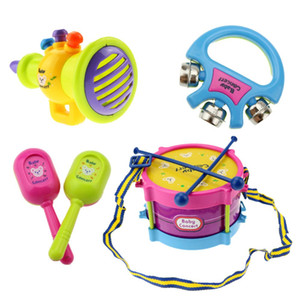 Wholesale drum sets resale online - 5pcs set Baby Kids Roll Drum Musical Instruments Band Kit Educational Toy Baby Kids Musical Toys Drum Trumpet Cabasa Handbell