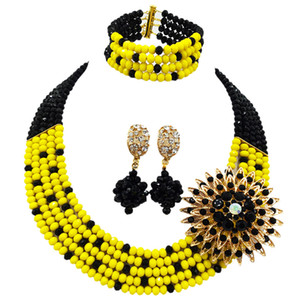 Fashion Black Opaque Yellow Costume Statement Necklace African Wedding Beads Nigerian Jewelry Beds Set 5L-ZJ024