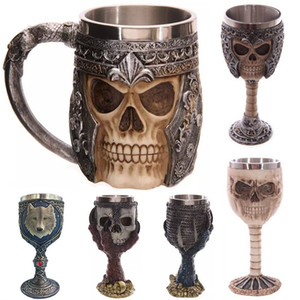 Wholesale 3D Skull Mugs Wall Stainless Steel Cups ml Coffee Beer Tea Cup Knight Tankard Dragon Drinking Mug Free DHL WX C10