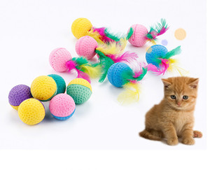Free shipping pet cat kitten toys playing toys foam latex balls withe feather 20pcs lot
