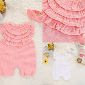 2018 Summer High quality Mesh White Pink lace cotton children clothing short sleeve baby clothes Newborn bodysuit With Headband