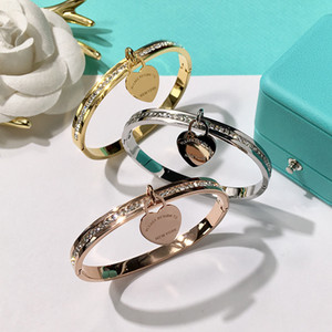 Wholesale 2018 new brand Double T fashion stainless steel Brand heart bracelets for women with cz diamond love Bracelet new york fine Jewelry