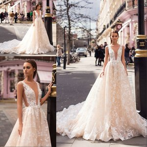 Wholesale Milla Nova 2019 Designer Light Champagne Wedding Dresses Sexy Deep V Neck Sleeveless Lace Court Train Backless Wedding Bridal Gowns