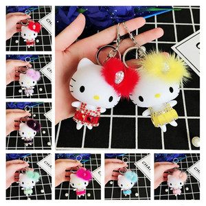 Crystal Cat Love Keychain Accessories Keyring 8 Styles Cute Fluffy Mink Cartoon Doll Funny Animal Keychains for Girls Mens Womens