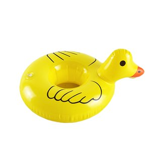 Wholesale Inflatable Mini yellow duck drink floats Pool Float Inflatable yellow duck cup holder Pool Party drink floats baby swimming Toys