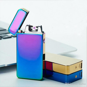Wholesale Electric Lighters Double Fire Cross Deluxe Dual Arc Metal Flameless USB Rechargeable Windproof usb cigarette cigar Lighters WX9
