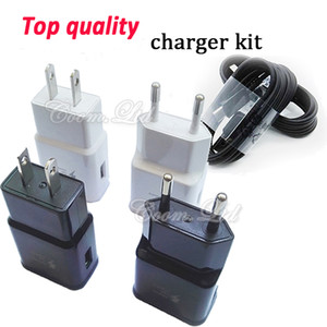 Wholesale Top quality fast charger kit V A V A EU US home traval usb wall charge adapter with m ft android m type c cable for S10
