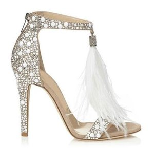 Wholesale Top Sale Crystal Embellished White High Heel Sandals With Feather Fringe Rhinestone Sandals Bridal Wedding Shoes Women Pumps
