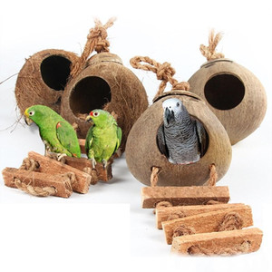 Wholesale Wood Climbing Ladder Grinded Coconut Shell Pet Bird Toy Climb Bell Swing Bite Toy Pet Product