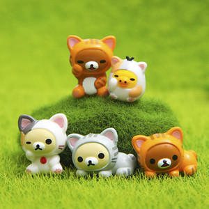 10pcs Kawaii Cheese Cat Miniature Figurine Fairy Miniatures Figurines japanese anime children figure world Action Toy Figures