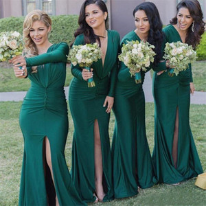 Wholesale Sexy Emerald Green Mermaid Long Bridesmaid Dresses With Long Sleeves Side Split Country Elastic Satin Ruched Court Train Maid Of Honor Gown