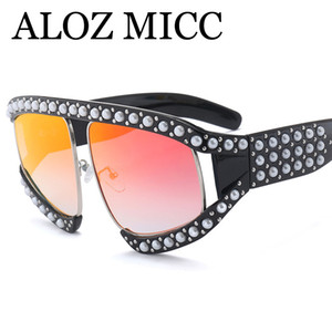 Wholesale ALOZ MICC Newest Italy Luxury Oversized Pearl Sunglasses Women Brand Designer Pilot Crystal Frame Glasses Female Goggle EyewearA450