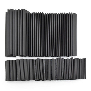 Wholesale 127pcs Black Polyolefin 2:1 Halogen-Free 10.4 Mpa 15 kV mm Heat Shrink Tube Tubing Sleeving Kit 7 Sizes