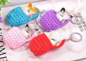 Wholesale 10PCS Colors Sleeping Cat Pompom Keychains Women Girls Handmade Woven Shoes Faux Rabbit Fur Kitten Key Chains Fluffy Bag Key