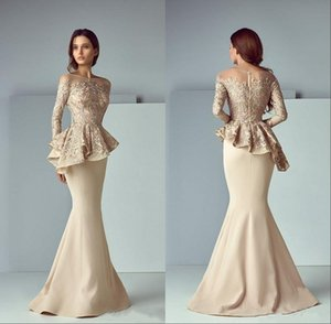 Wholesale Champagne Lace Stain Peplum Wear Prom Dresses Sheer Neck Long Sleeve Dubai Arabic Mermaid Long Evening Formal Gowns