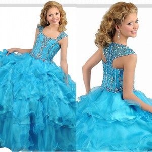 Wholesale Ocean Blue Ball Gown Organza Girls Pageant Dresses Straps Layers Pleated Crystal Top Glitz Kids Formal Party Dress