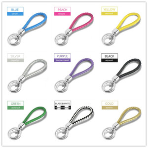 Wholesale Sale Pc Unisex Trendy Women Men Candy Color PU Leather Woven Rope keychain Pendant Key Rings Gifts