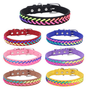New Colorful Braid Leather Pet Dog Cat Collars Soft Leather Leashes 10 colors Mixed Wholesale Pet Supplies