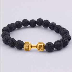 Wholesale dumbbell beads resale online - Mens Gift New Arrival Alloy Metal Barbell Lava Rock Stone Beads Fitness Fashion Dumbbell Bracelets