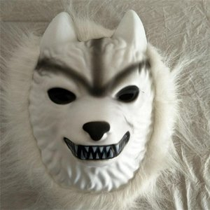 Wholesale White Wolf Hair Mask Children Kid Adults Plastic Full Face Masks For Halloween Party Costumes Cosplay Supplies Funny fl BB
