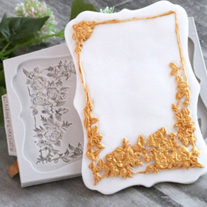 Wholesale European Queen Rose Frame Silicone Mold Fondant Mould Cake Decorating Tool Chocolate Sugarcraft Kitchen Accessories