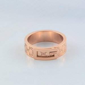 Wholesale Fashion Design Couple Rings Famous Brand Stainless Steel Sliver Ring Luxury Women Men Wedding Rings Rose Gold Plated Jewelry