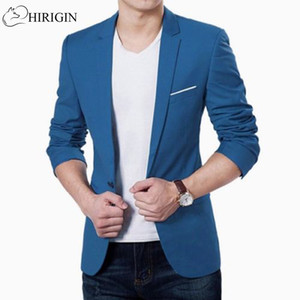 Wholesale HIRIGIN Mens Korean slim fit fashion cotton blazer Suit Jacket black blue plus size M to XL Male blazers Mens coat Wedding