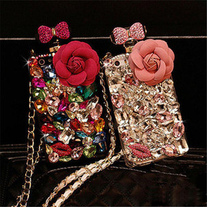 Wholesale black x perfume resale online - Luxury Bling Bling Diamond Crystal Rhinestone Flower Lanyard Perfume Bottle Case For iphone X s Plus Samsung S9 S9Plus S8 Note8