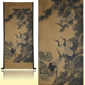 Wholesale Four cranes ancient calligraphy and painting Chinese painting ancient painting decoration installed